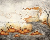 5x7 Whispers In The Pumpkin Patch fairy PRINT by Amy Brown