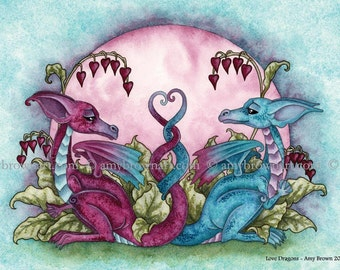 5x7 Love Dragons PRINT by Amy Brown
