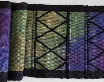 "Handwoven Hand dyed Windowpane Silk Scarf -  Vineyard, 64""x5.5"""