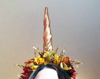 Autumn Floral Unicorn Horn Headpiece