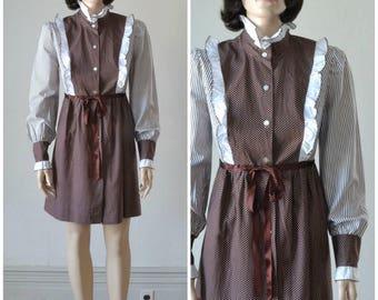 60s MOD Mini Dress Edwardian Revival Pinafore Polka Dot Babydoll Dress