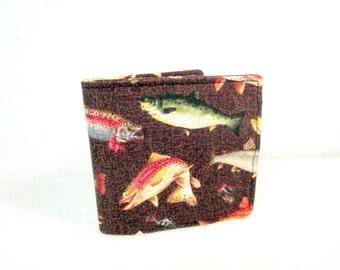 Salmon Handmade Fabric Men's Billfold / Wallet / Washable / 9 Pockets