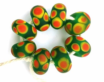 Green Yellow and Orange Artisan Lampwork Beads
