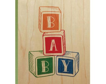 Baby Wood Block Greeting Card