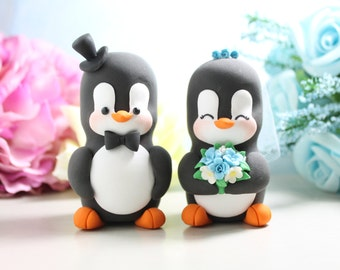 Unique wedding cake toppers Penguins - bride and groom figurines personalized elegant animal wedding gift aqua blue white funny cute