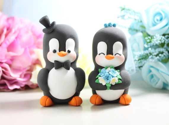 Unique wedding cake toppers Penguins - bride and groom figurines personalized elegant animal wedding gift tiffany blue aqua white funny cute