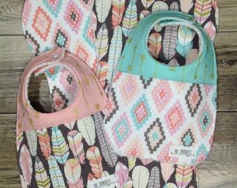 Burp Cloths Girl Organic Burp Cloths Burp Cloths Baby Burp Cloths Burp Clothes Feather Burp Cloths Burp Rags Baby Shower Gift Baby Gift