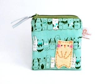 Cute purse cat coin purse small cute pouch change purse animal coin pouch sweet kitten green sweet gift for girls for cat lover for cat lady