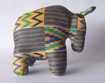 Wildebeest Gnu Kente wax fabric from Ghana blue yellow Stuffed Standing Plush toy animal handmade