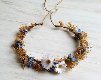 Blue dried flower crown daisy rustic chic hair wreath Bridal wedding accessories silk floral halo photo prop girls women adults
