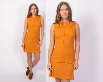 Vintage 60s 2 Piece SET / 1960s Pumpkin Tunic Top & Mini Skirt Dress Set XS