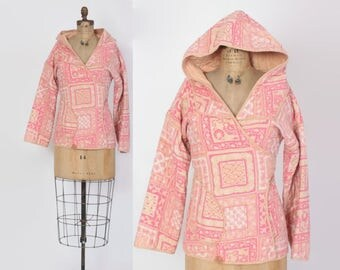Vintage 70s INDIA COTTON Jacket / 1970s Pink Indian Block Print Cotton Hooded Coat
