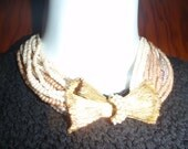 Vintage Choker with White and gold faux Pearls and Large Bow