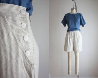 cotton ticking high waisted shorts