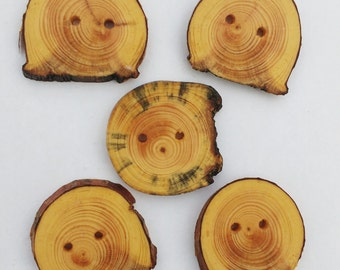Five Handmade Wood Buttons, Salvaged Pine Buttons, Rustic Tree Slice Buttons