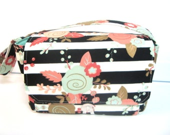 "Large 4"" Size Coupon Organizer / Coupon Bag /Budget Holder Box Attaches to Your Shopping Cart  Black & White Stripe Floral- Select Your Size"