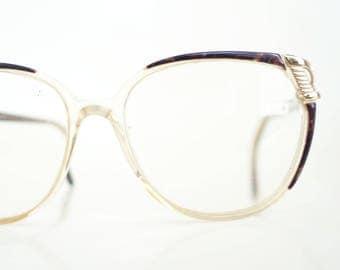 1980s Oversized Glasses Womens Luxottica Eyeglasses Italy Huge Glam Rocker Gold Brown Marble Marbelized 80s Eighties Italian Retro