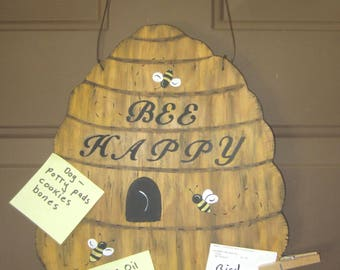 BEEHIVE NOTE BOARD - Original Hand Painted Hand Crafted Wood - Large Size 14X8
