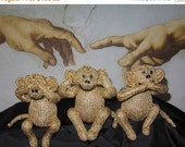 HALF PRICE SALE Knitting Pattern Only digital pdf download- 3 Wise Monkeys toy animal pdf knitting pattern