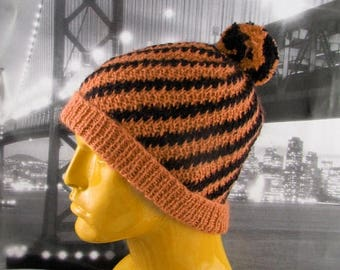 50% OFF SALE Instant Digital File PDF Download Knitting Pattern -  Stripey Swirl Beanie Hat pdf download knitting pattern