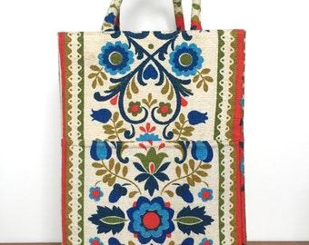Vintage Margaret Smith Fabric Handbag / Tote Bag - Gardiner MAINE - Floral Tapestry Graphic / Block Print - Rich Colors - Designer Fashion