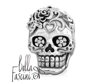 Loving Heart Dia de los Muertos Sugar Skull - Sterling Silver Charm Bead Fits: Pandora and Compatible Brands - Bella Fascini® F-109
