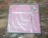 "Vintage Pink Tablecloth & Napkin Box Set with Lace Corners Tea 44"" Kaye Walt Valentine's Day"