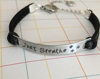 Just Breathe leather bracelet, charm bracelet, friendship bracelet, hand stamped, adjustable, inspirational bracelet, Religious jewelry