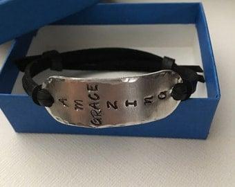 Amazing Grace,Leather bracelet,Cuff bracelet,Adjustable bracelet,Bracelet,Jewelry,Gift for her,Gift for Him,Unisex jewelry ,Hand stamped