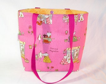 SPECIAL PRICE - Magnolia Goat on Pink Project Tote - Premium Fabric