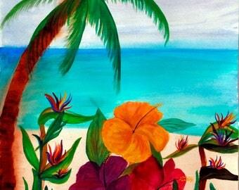 Tropical floral beach art canvas wrap.