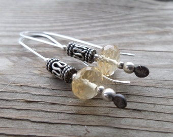 Genuine Beautiful Citrine Sterling Silver Dangle Handmade Earrings
