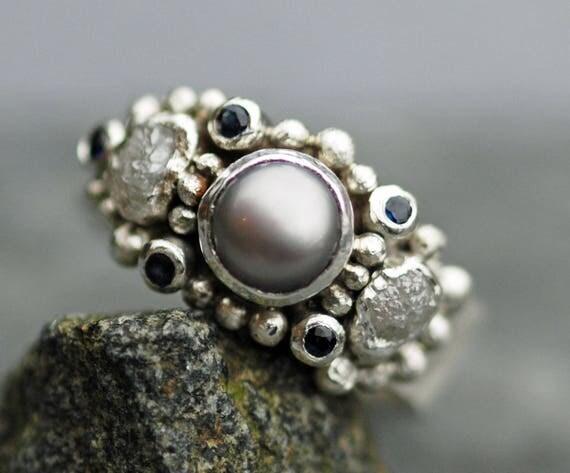 Rough Diamond, Gemstone Melee and Pearl Engagement Band- Custom Made Custom Colour