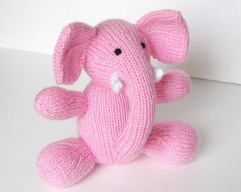 Elephant Stuffed Animal, Hand Knit Pink Elephant Doll, Newborn Baby Girl Gift, Safari Animal Zoo Nursery Soft Toy, Knit Toy Toddler Gift  8""