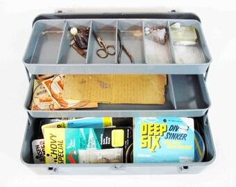 Vintage Fishing Tackle Box in Grey. Full of Tackle. Circa 1960's.