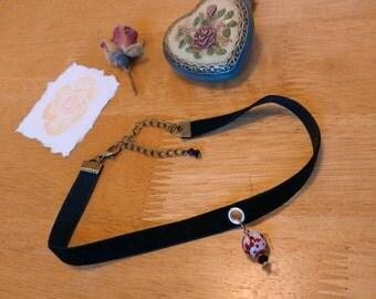 Black Velvet Ribbon Choker with Blood Splatter Bead detail