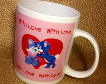 Novelty Mug - Cute Vintage Mug - 1980s - With Love - Teddy Bear Mug