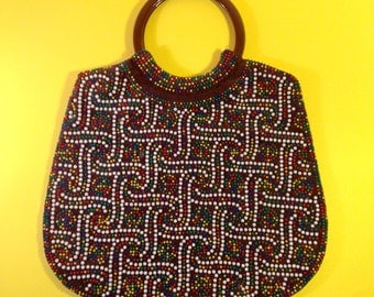 Beaded Bag - Vintage Beaded Bag - 1970s Beaded Bag - Vintage - Corduroy - Vintage Bag - Vintage Handbag - Brown Bag - Beads - Kitsch