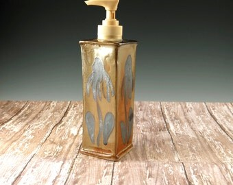 Pottery Hand Soap Dispenser - Handmade Stoneware Soap Pump with Echinacea Design - 871