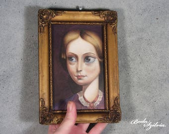 Charlotte Bronte portrait - original framed art -  big eye art - low brow art - pop surrealism - pencil drawing - classic literature