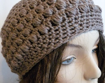 Crochet Eco Friendly Beanie in Brown for Teens and Women, Organic Slouchy Hat
