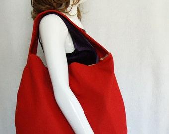 Orange Wool Handbag, large orange woolen shoulder bag, dark orange wool hobo slouch bag, orange wool bag with bright floral interior