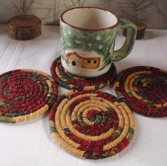 Coiled Fabric Coasters Adirondack Lodge Set of 4