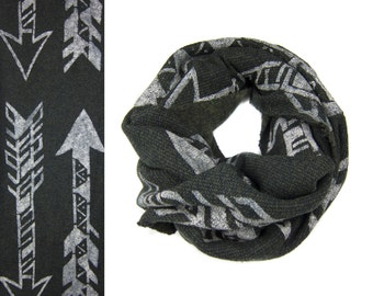Tri-Arrows Infinity Scarf - Hand Printed Boucle Knit Sweatshirt Fleece Circle Scarf in Heather Black Olive and Cream Q