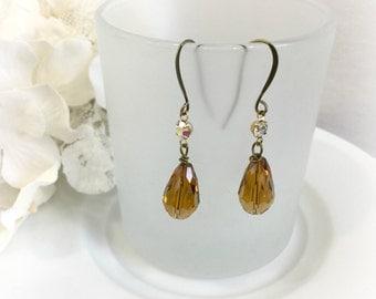 Teardrop Earrings - Topaz Teardrops - Vintage Glam Earrings - Honey Drop Earrings - Vintage Bridal Earrings - Neutral Earrings - Topaz