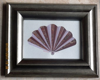 """Gorgeous Framed Iris Folded Fan, Great Valentine Gift, Roser, Burgundy and Marbled Print, Silver Mat, Beautiful Silvertones Frame, 10x8.25"""""""