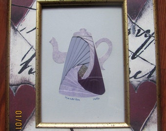 """Framed Iris Folded Coffee Pot, Purple and Lavender and Lavender Print, 3-D Appearance Paper Art, Gold-Edged Purple Hearts Frame. 10.5""""x8.5"""""""