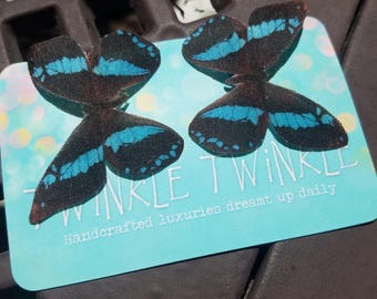 "Light Blue ""Stripe"" Silk Butterfly Hairclips"