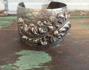 Vintage Massive Statment cuff Bracelet Floral Repousse Silver tone Art Deco