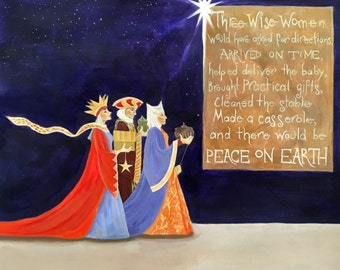 """5x7 Hand Mounted Hand Signed Art Card """"Peace on Earth"""""""